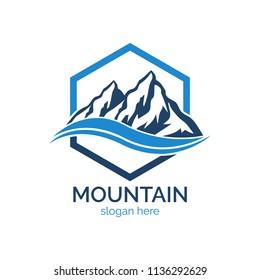Mountain logo design icon template. Explore natural expedition vector illustration