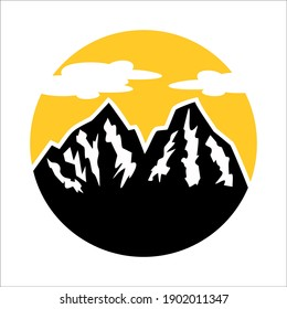 mountain logo design, simple vector illustration, with sun background in beautiful clouds