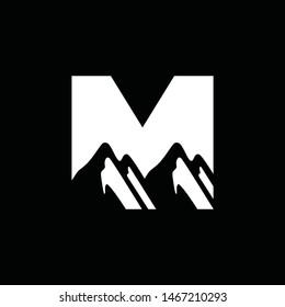 Mountain Logo Design Template Inspiration, M Letter
