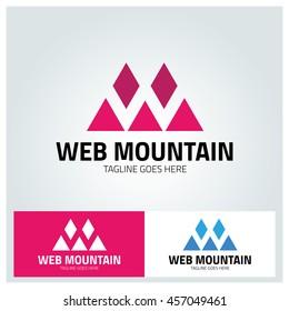 Mountain logo design template ,Letter W logo ,Letter m logo ,Vector illustration