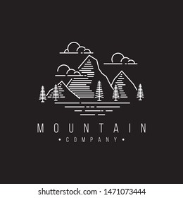mountain logo design template with line art style.vector