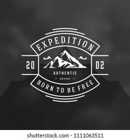 Mountain logo design template vector illustration. Retro typography badge emblem.