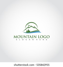 Mountain logo, elegant mountain vector logo design illustrator eps.10