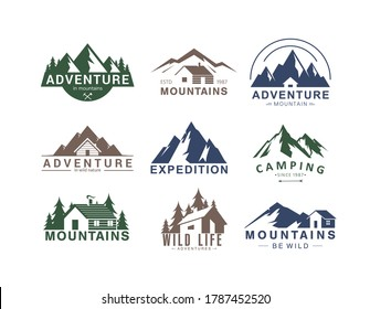 Mountain logo flat vector illustration set. Design element sign logo stamp collection of rocky mountain top peaks, camping outdoor adventure expedition in mountainous landscape, camp life in wild