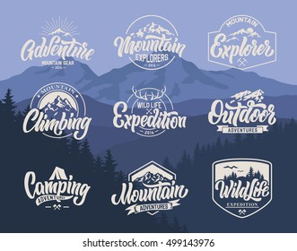 Mountain logo lettering vector set.