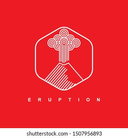 Mountain logo with linear style on the red background.Nature disaster eruption with smoke and clouds in the sky