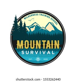 Mountain logo outdoor emblem circle - adventure wildlife pine tree forest design, hiking exploration nature, camping basecamp campfire alpine himalaya.