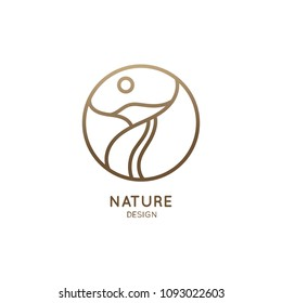 Mountain logo with road in minimal linear style. Vector round icon of landscape with hills, route, sun - business emblems, badge for travel, tourism, farming and ecology concepts, health, yoga Center.