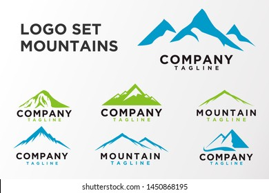 Mountain logo set. Illustration Peak, hill or expedition logo. Simple and minimalist style. Vector eps 10