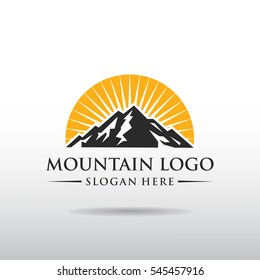 Mountain Logo template. black and orange color with sunset. vector illustrator eps.10