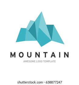 Mountain logo template. In modern style, line art style, full color.