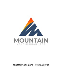 Mountain logo with triangle design template, letter M