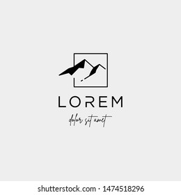 Mountain Logo Vector line design landscape symbol