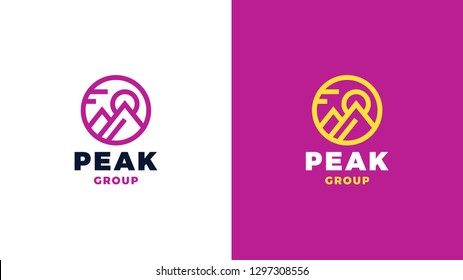 Mountain Logotype template, positive and negative variant, corporate identity for brands, magenta product logo, vector design