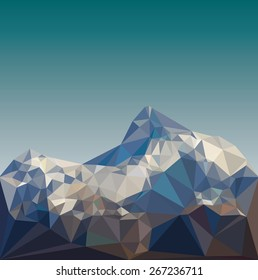 Mountain low poly vector