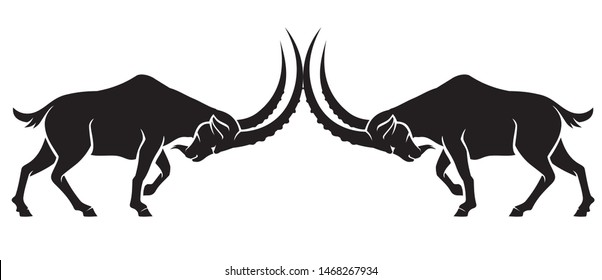 Mountain Male Goat Sparring Silhouette