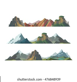 Mountain mature silhouette element outdoor icon snow ice tops and decorative isolated camping landscape travel climbing or mountain hiking geology vector illustration.