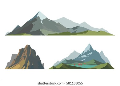 Mountain mature silhouette element outdoor icon snow ice tops and decorative isolated camping landscape travel climbing or hiking mountain geology vector illustration.
