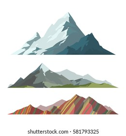 Mountain mature silhouette element outdoor icon snow ice tops and decorative isolated camping landscape travel climbing or hiking mountainous geology vector illustration.