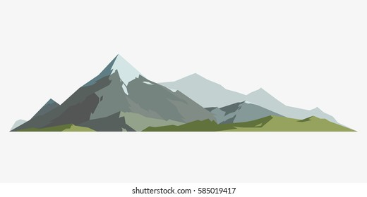 Mountain mature silhouette element outdoor icon snow ice tops and decorative isolated camping landscape travel climbing or hiking geology mountain vector illustration.