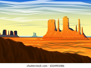 Mountain and Monument Valley, morning panoramic view, peaks, landscape early in daylight. travel or camping, climbing, vector illustration for website or banner. Outdoor hill tops, Hunts Mesa, Arizona