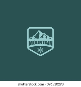Mountain, nature exploration vintage logos, emblems, silhouettes and design elements. Outdoor activity in wilderness symbols design template, vector illustration.