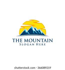 the mountain, nature, green, landscape, sun, eco, logo design 2