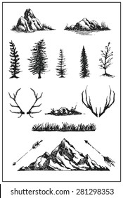 Mountain nature tree vector illustration page