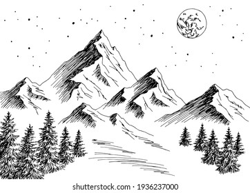 Mountain night graphic black white landscape sketch illustration vector