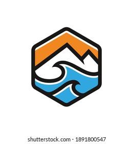 mountain and ocean vector badge logo
