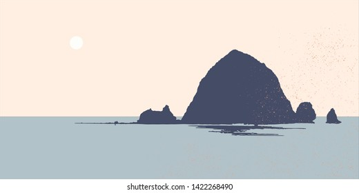 Mountain on the lake. Abstract landscape.