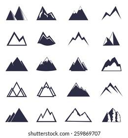 Mountain one color  icon set. Vector, EPS 10