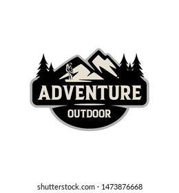 Mountain Outdoor Adventure Vintage Badge Logo Template Vector