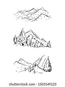 Mountain outline drawing vector set illustration. Simple rocky hills hand drawn image. Tourist destinations map decoration. Forest landscape panorama view collection. Different natural vacation parks.