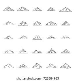 Mountain outline icons set vector illustration for design and web isolated on white background. Mountain vector object for label and advertising