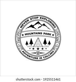 mountain park icon logo vector emblem illustration design, adventure vintage label patch illustration design.