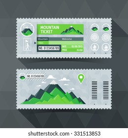 Mountain Park Travel Ticket Card. modern element design.