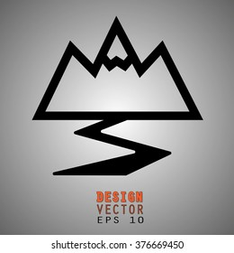 Mountain path icon, sign or logo. Nature winter snow ski and travel new concept.  Vector illustration EPS10