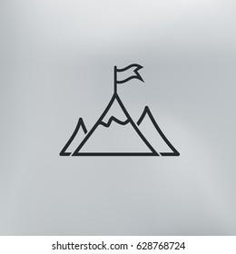 Mountain peak with flag icon
