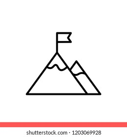 Mountain peak icon with flag symbol, winner sign. Simple, flat design for web or mobile app
