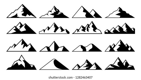 Mountain peak icon. Tibet mountains, berg hills tops and everest hill landscape. Alps winter peaks shape, alpine mountaineer hiking geology isolated vector icons set