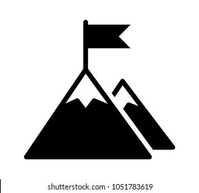 Mountain peak top with flag or goal with high ambitions flat vector icon for apps and websites