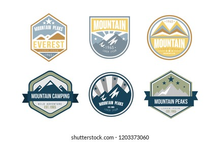 Mountain peaks logo design set, camping, hiking, expedition retro badges and labels vector Illustration on a white background