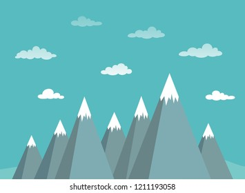 mountain peaks and sky background. success, high results symbol. Landscape with  mountains, rocks and clouds.  extreme travel concept. Flat vector illustration in cartoon style. EPS 10