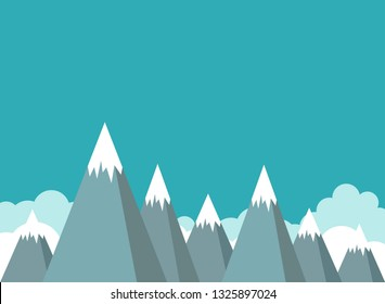 mountain peaks and sky background. success, high results symbol. Landscape with  mountains, rocks and clouds.  extreme travel concept. Flat vector illustration in cartoon style.