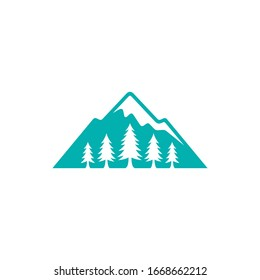 Mountain and pine tree logo. Nature hill landscape logo. Evergreen vector