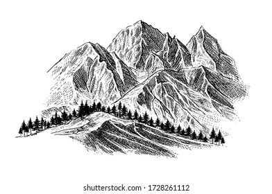 Mountain with pine trees and landscape black on white background. Hand drawn rocky peaks in sketch style. Vector illustration.