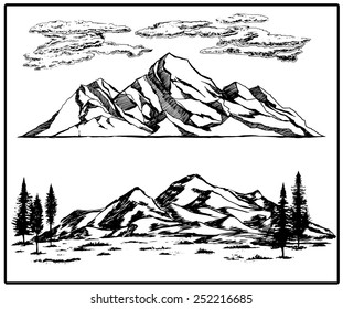 Mountain pines trees sky landscapes hand drawn vector illustrations