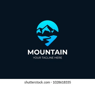 Mountain point logo template. Mountain river and pointer vector design. Traveling illustration