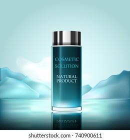 Mountain power. Aroma perfume bottle on sea background